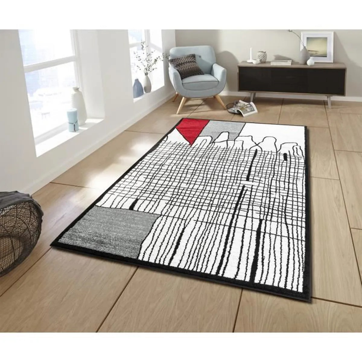 Tapis Salon Cali Tapis De Salon Graphique 160 X 230 Cm Rouge