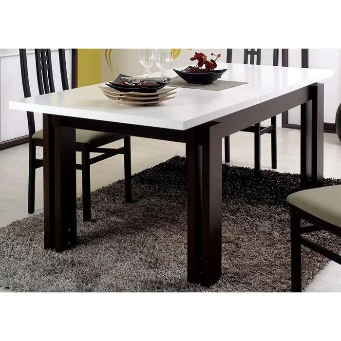COMO Table rectangulaire 1 allonge Wengé/Blanc - Achat / Vente table