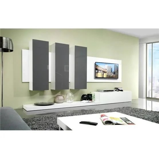 Composition Meuble Tv Design Meuble Tv Design Mural Lime Blanc Et Gris - Composition