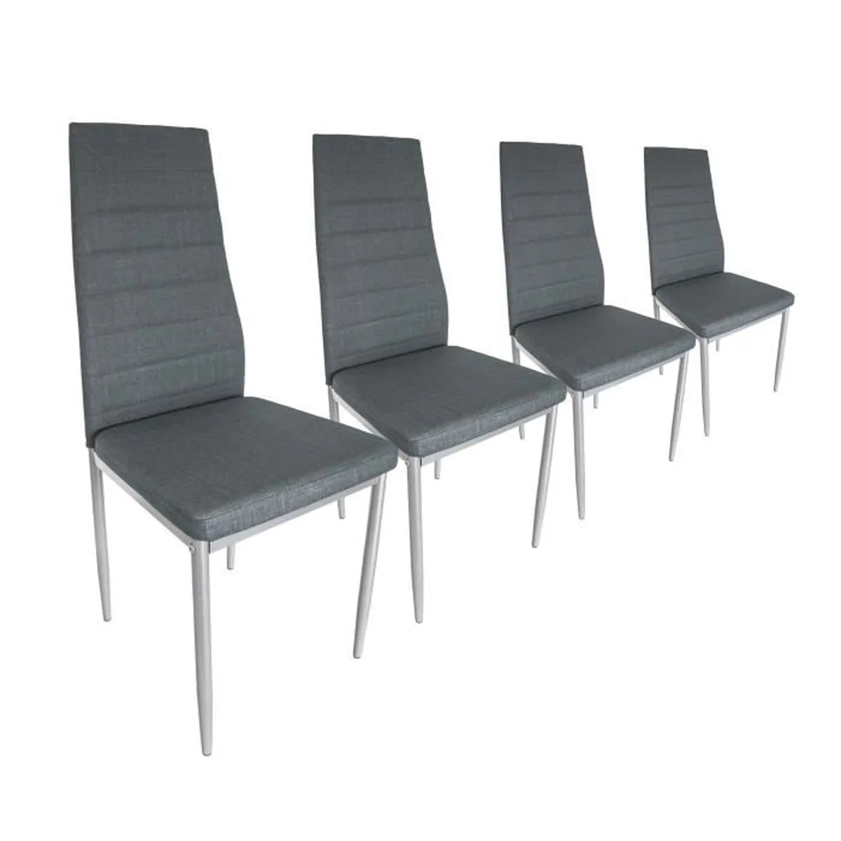 Chaise Simili Cuir Gris Lot De 4 Chaises En Simili Cuir Gris