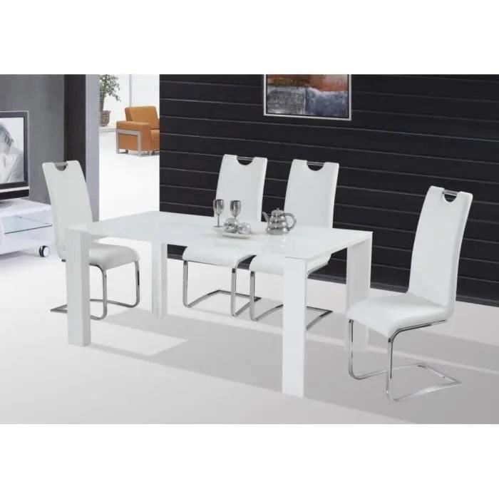 JUSThome Table de salle à manger Jonas Blanc laqué haute brillance