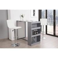 Table bar 2 personnes contemporain blanc et gris - L 120 ...