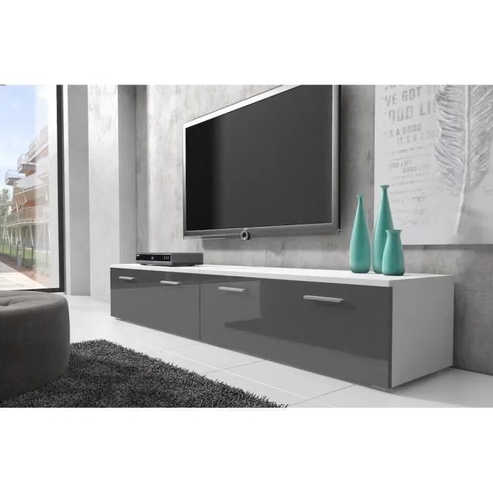 Meuble Tv Blanc 200 Cm Boston Meuble Tv Contemporain Décor Blanc Et Gris - 200 Cm