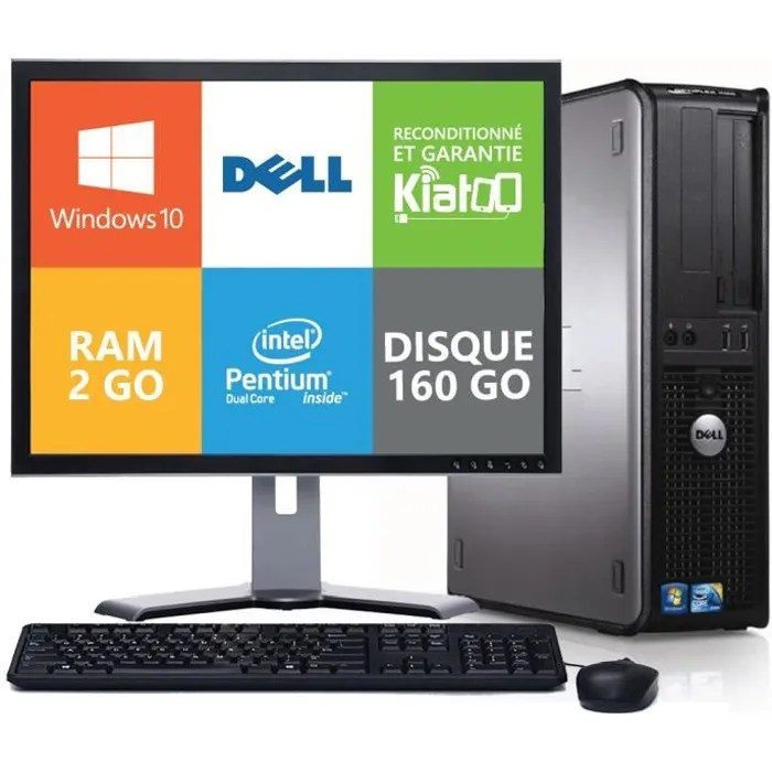 Ordinateur Portable Prix Pc Bureau Dell Optiplex 760 Dual Core 2 Go Ram 160 Go