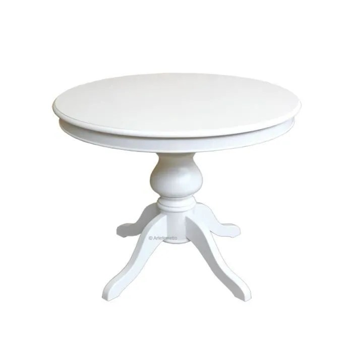 Table Ronde Laquée Pied Central Louis Philippe Achat - Table Ronde Blanche Pied Central