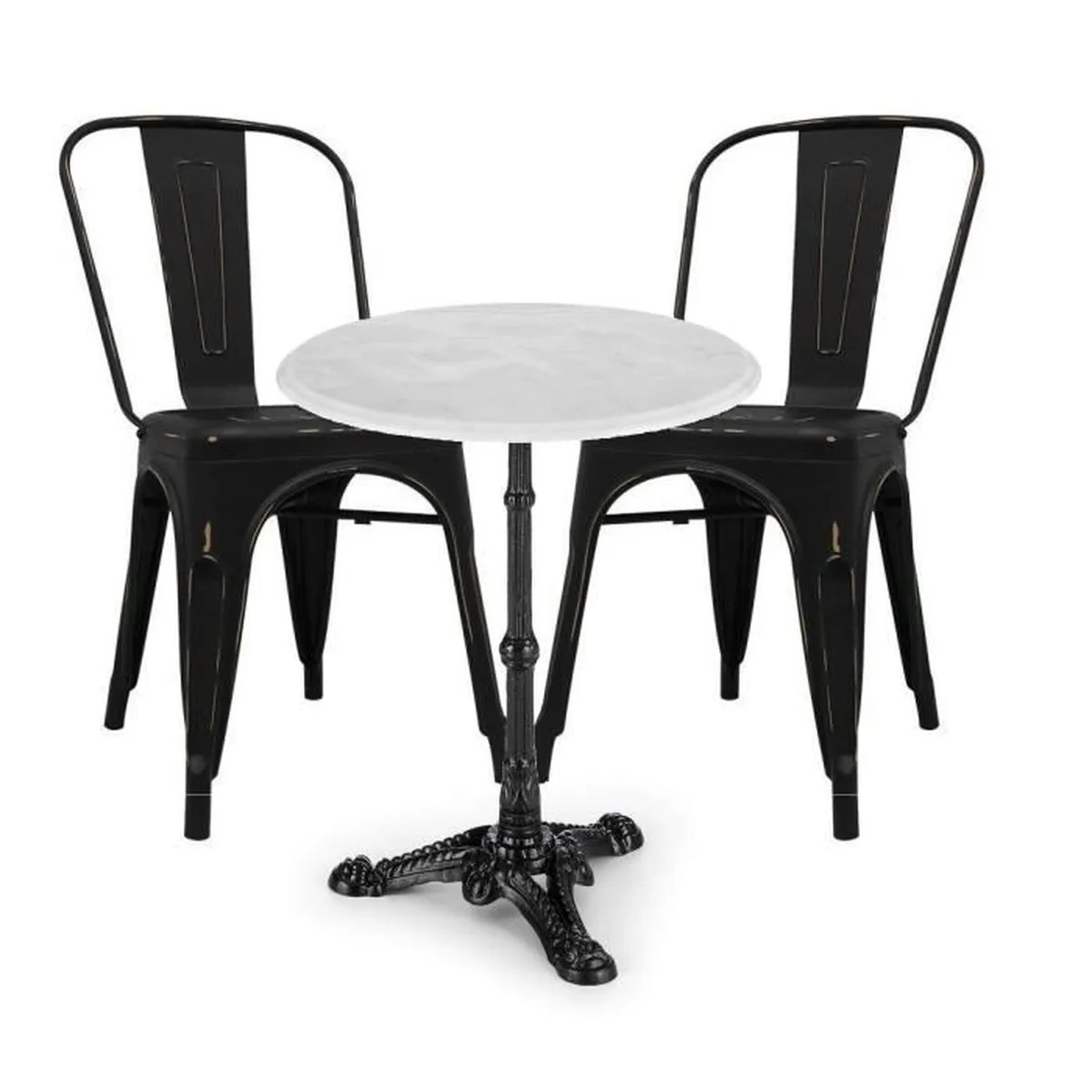 Table 2 Chaises Ensemble Table Ronde En Marbre 2 Chaises Meyer