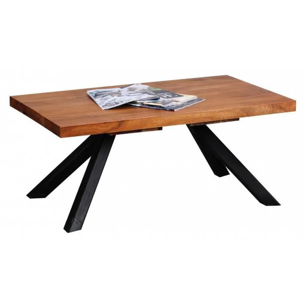 Table Basse Style Campagne Table Basse Solide Sheesham Bois 90cm Salon Table Design Sombre
