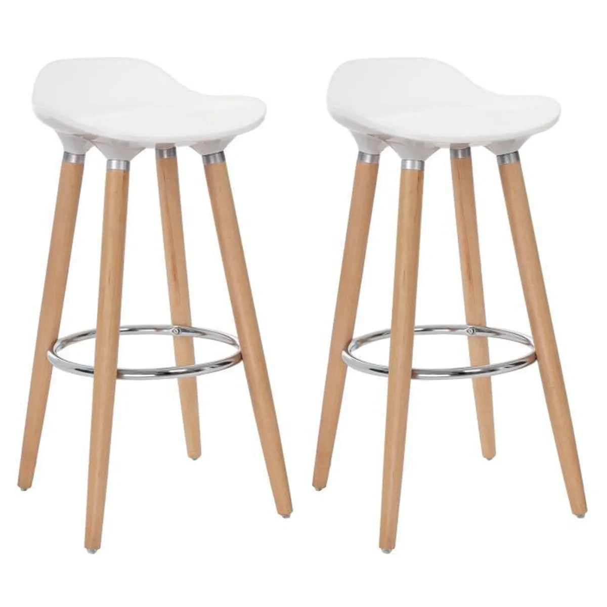 Songmics Lot De 2 Tabourets De Bar Stool Lot De 2 Tabourets De Bar Scandinave Hauteur 80 Cm Pieds En Bois