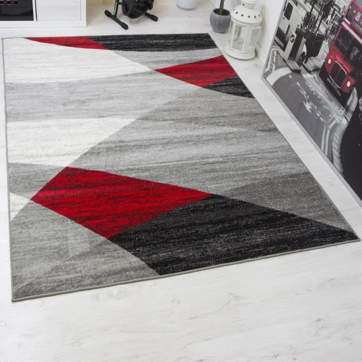 Tapis De Salon Design Tapis Salon Rouge Et Gris Achat Vente Tapis Salon