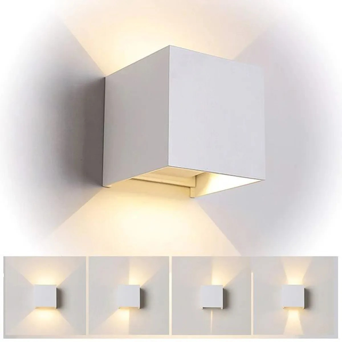 Applique Murale Exterieure Blanche 12w Led Applique Murale Exterieur Interieur Blanc Anti Eau Ip65 Réglable Lampe Up And Down Moderne Design 3000k Blanc Chaud
