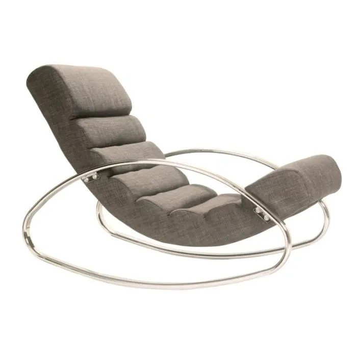 Fauteuil Relax Tissus Fauteuil Relax Design Miami Tissu Gris - Achat / Vente