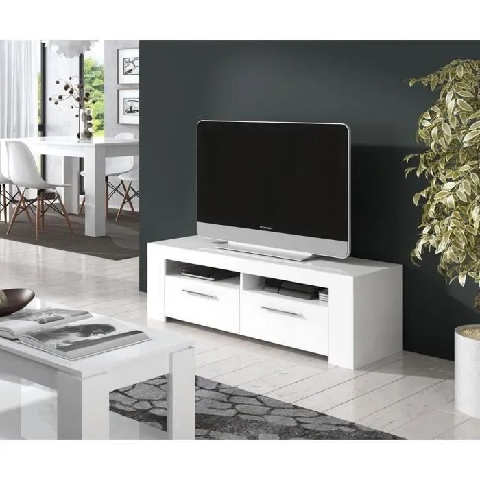 Meuble Tv Bas Laqué Blanc Diamentino Meuble Tv Contemporain Blanc Brillant - L 120