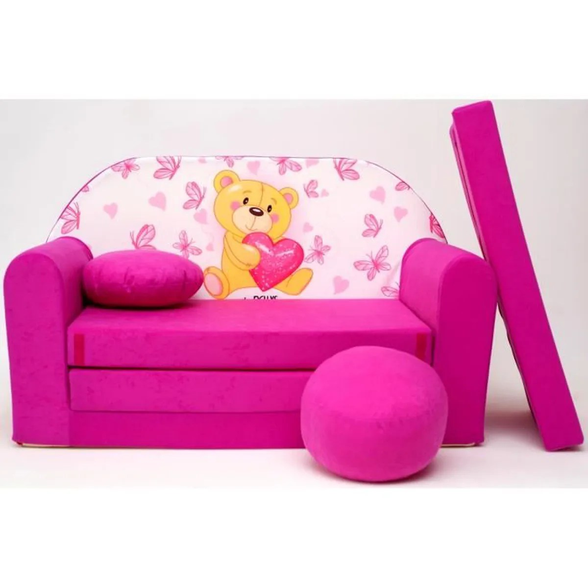 Honey Bear Meubles Avis Canape Sofa Enfant 2 Places Convertible Sweet Bear Rose
