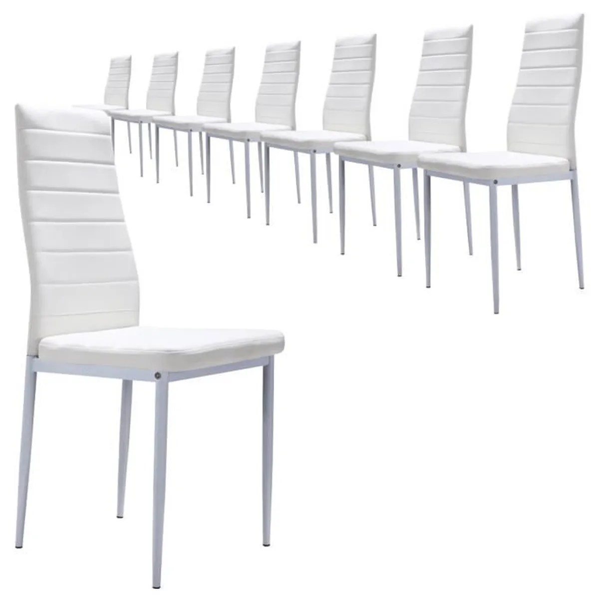 Lot 8 Chaises S2 Blanc Lot De 8 Chaises Design Et Ultra Confort Simili