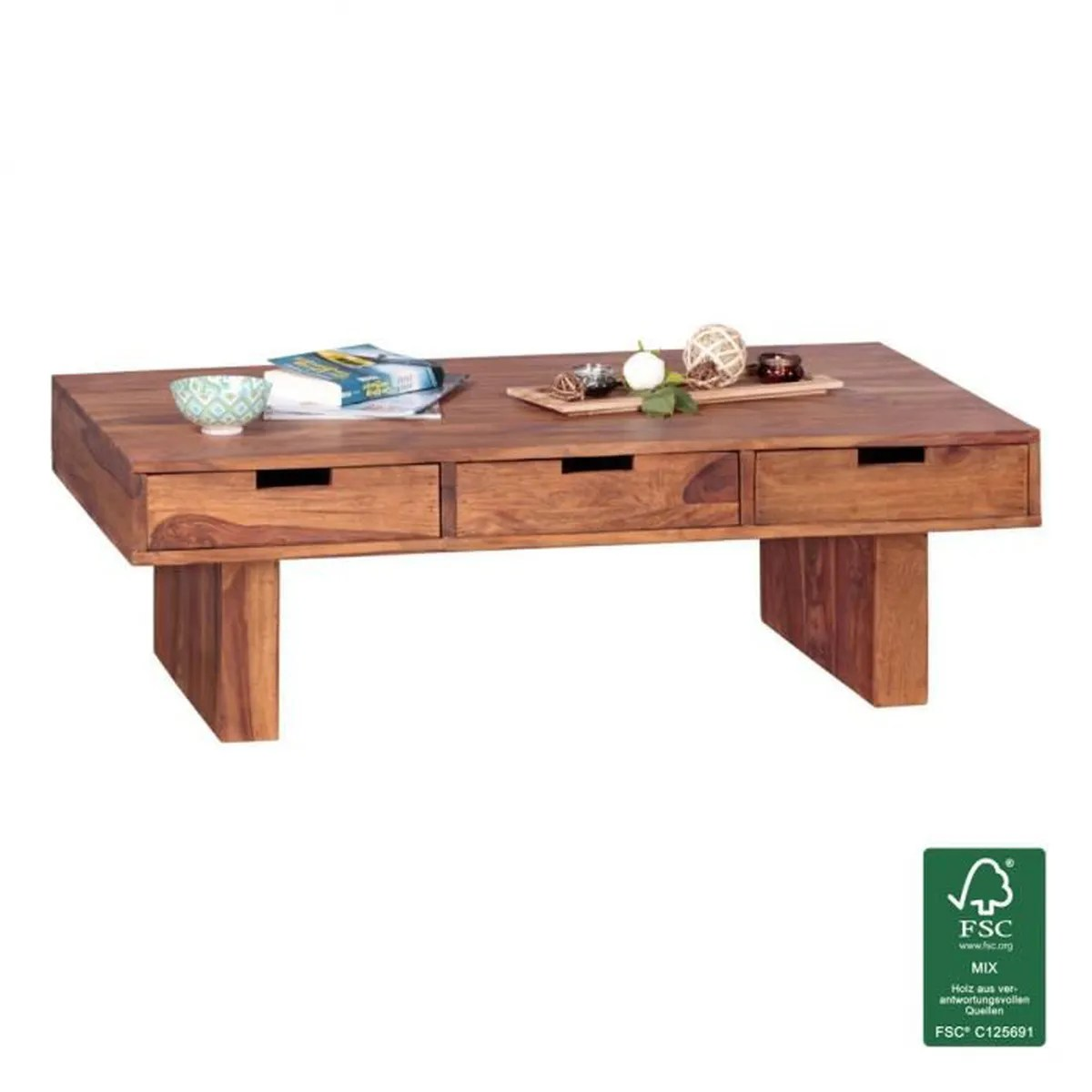 Table Basse Style Campagne Wohnling Table Basse En Bois Massif Table Sheesham Salon Design