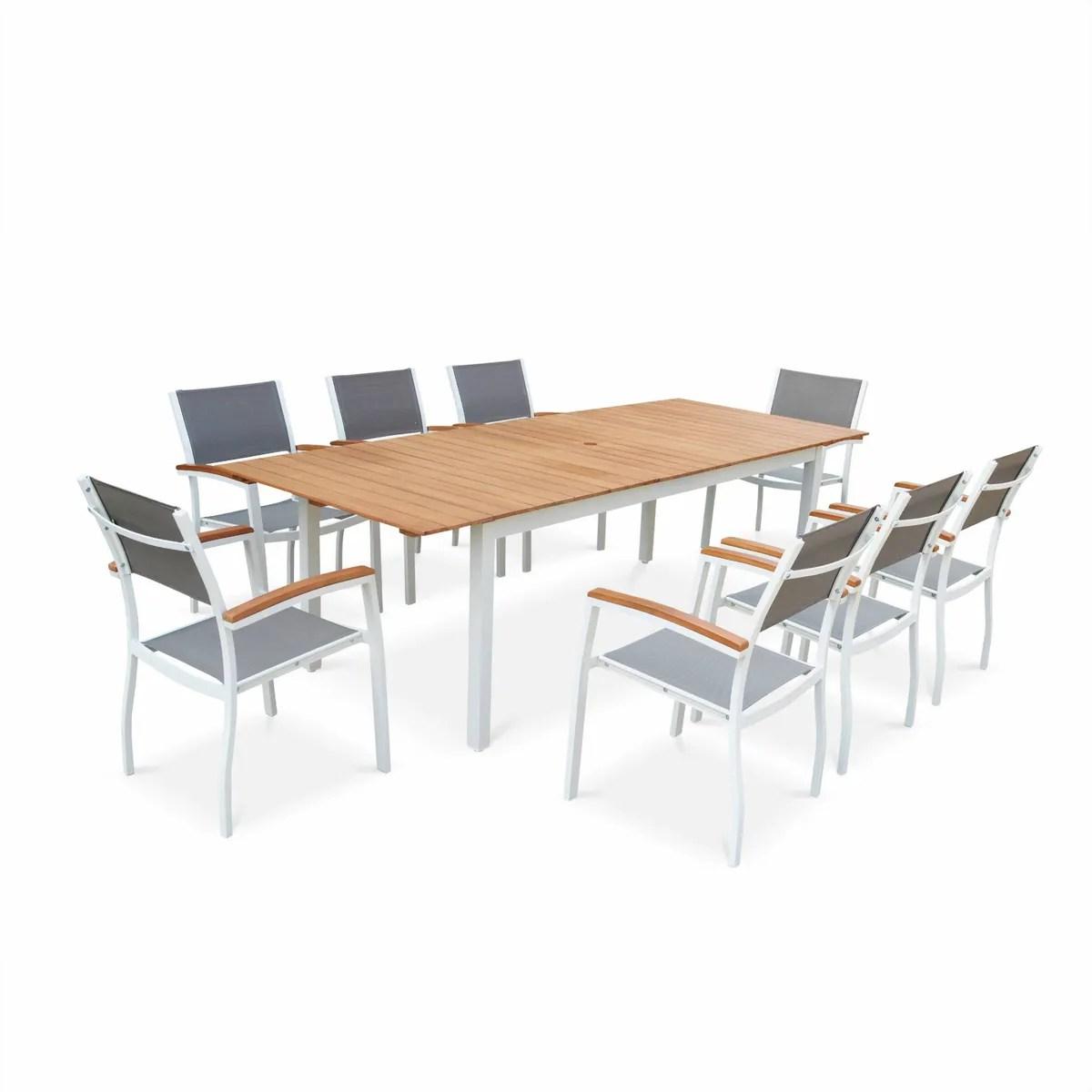 Ensemble Salon/repas 1 Table + 8 Fauteuils Cordoba - Anthracite Et ...