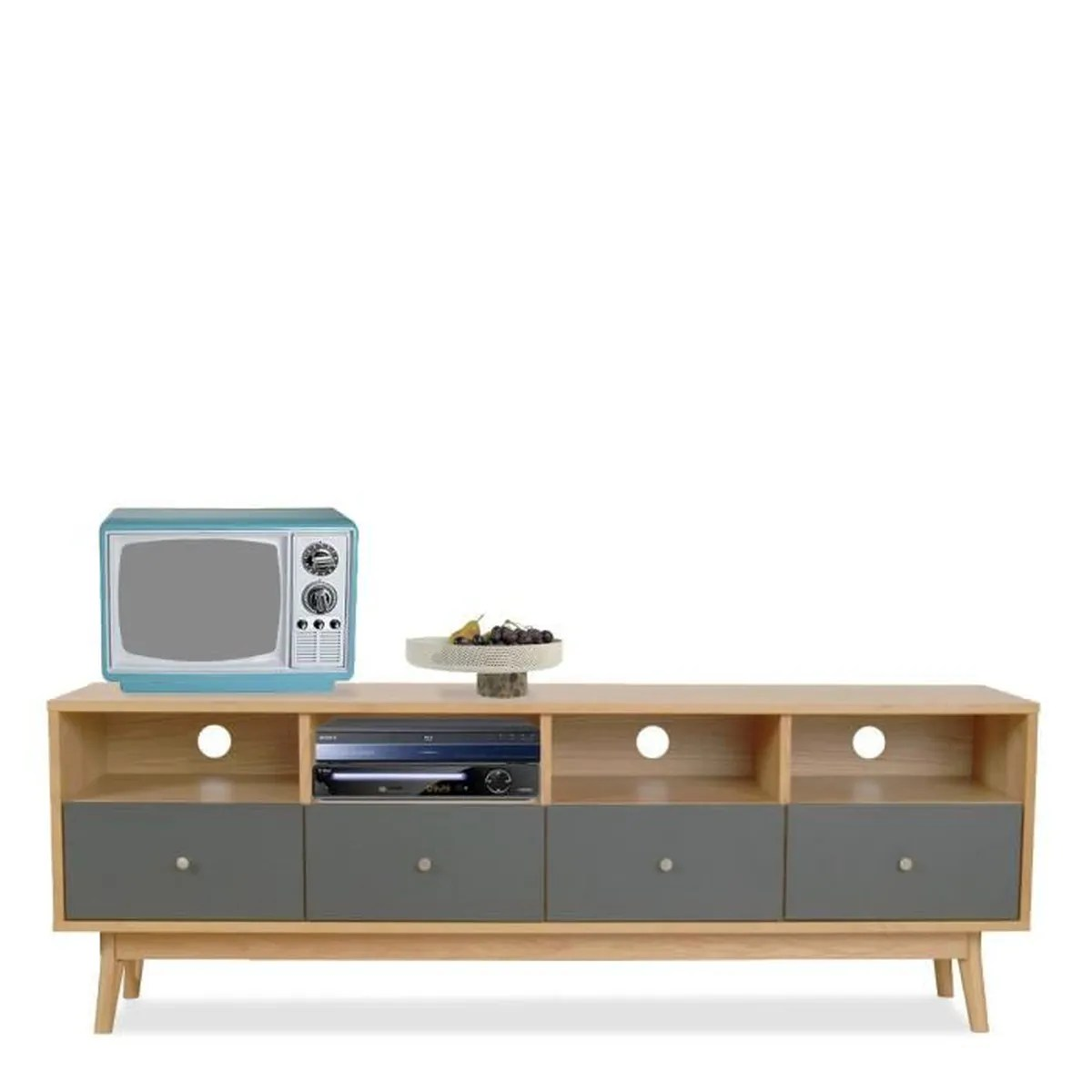 Meuble Design Scandinave Meuble Tv Design Scandinave 4 Tiroirs Skoll Couleur Gris