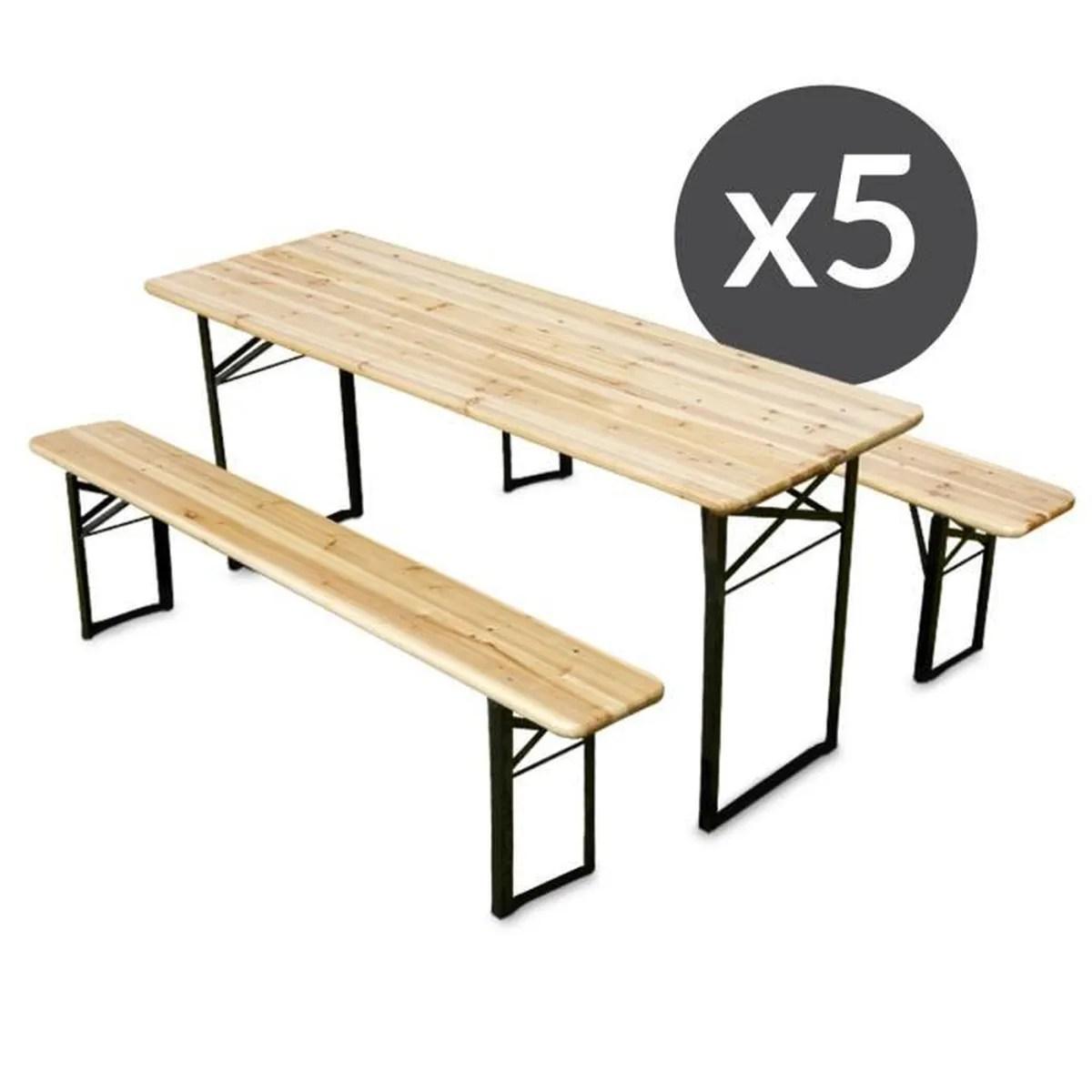 Table De Jardin En Bois Avec Banc   Table En Bois Avec Banc Appiar Io