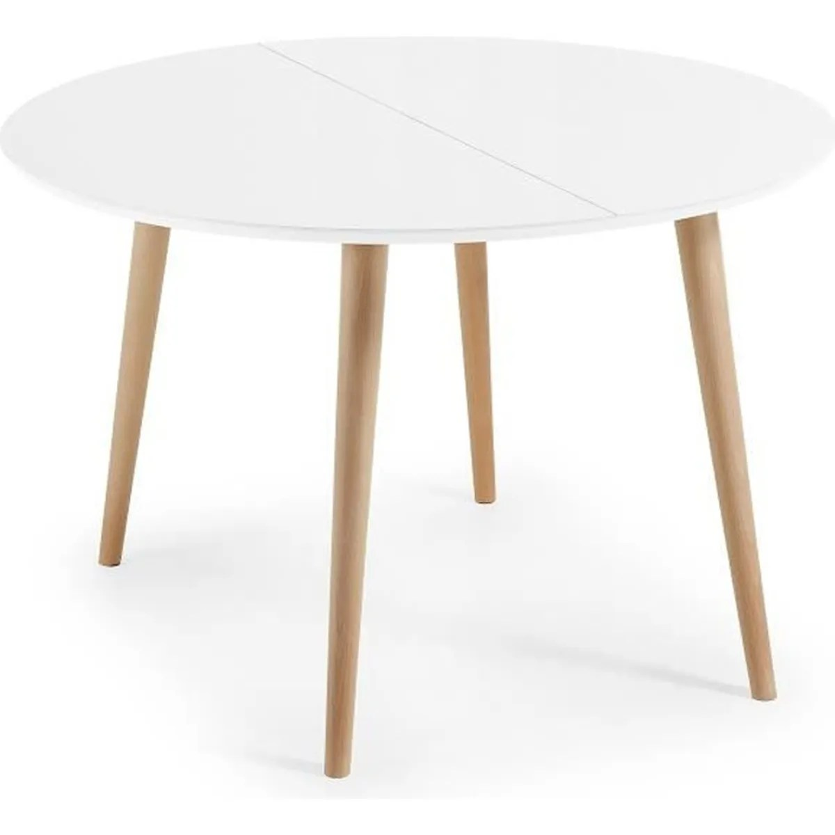Table Bois Ronde Extensible Table Oqui Extensible Ronde 120 200 Cm Naturel Et Blanc
