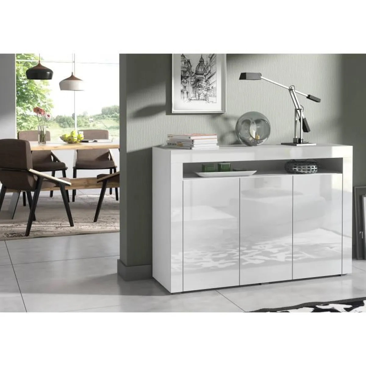 Buffet Salon Blanc Buffet Baltic Blanc Laque 3 Portes