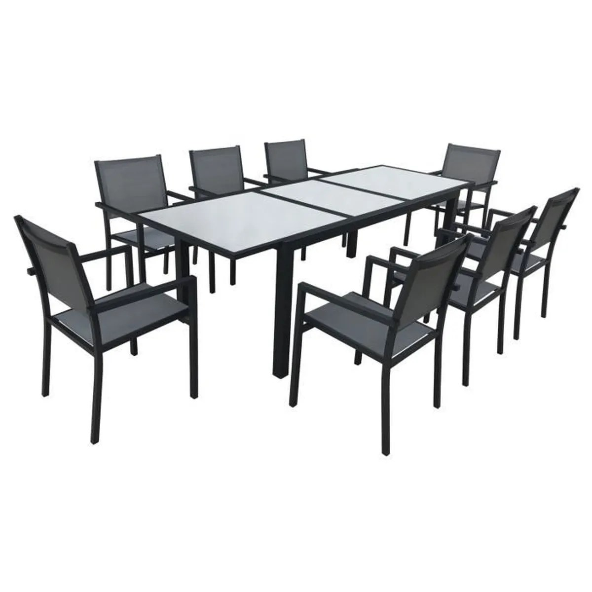 Salon Textilène Table + 8 Fauteuils Encastrables | Salon De Jardin ...