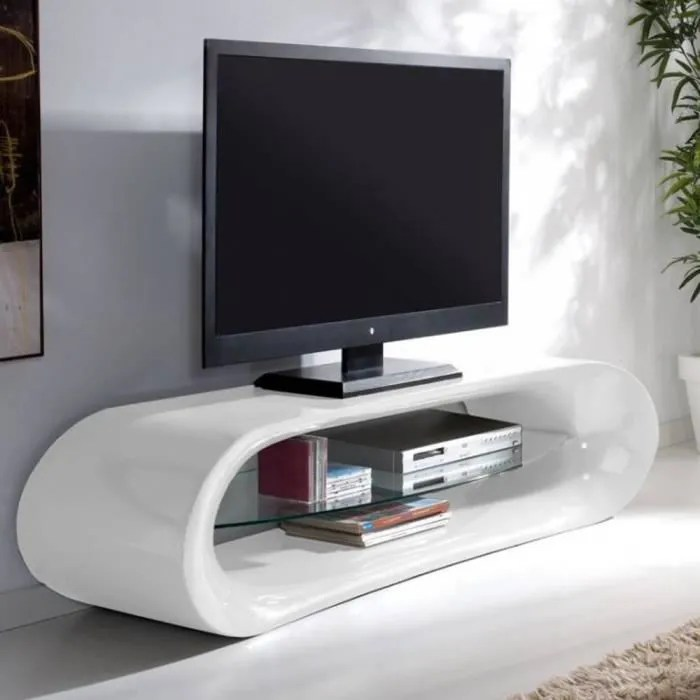 Support Mural Tv Conforama Meuble Tv Design KaÏna En Fibre De Verre Blanc - Achat