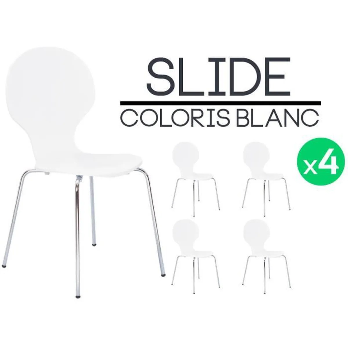 Vente Chaises Lot Achat Blanches Cdiscount Blanc 4 Vente Slide Chaises Chaise