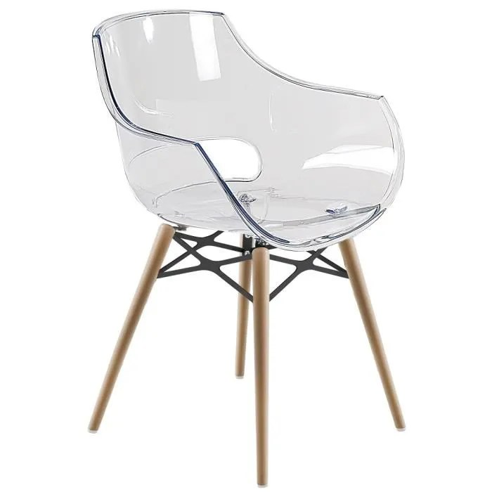 6 Chaises Blanches Chaise Transparente Opal-wox Pieds Bois Naturel - Achat