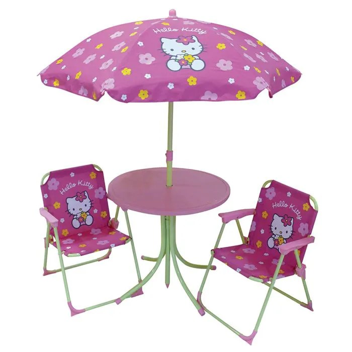 Meuble De Salon Cdiscount Set Table + 2 Fauteuils + Parasol Hello Kitty - Achat