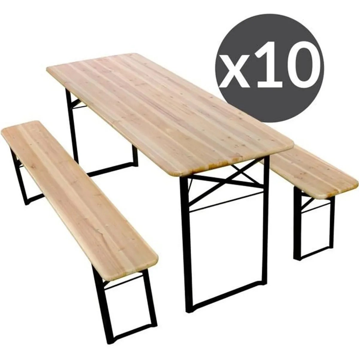 Salon De Jardin Banc Et Table Set Table Et Banc Pliants Bois 220 Cm Lot De 10