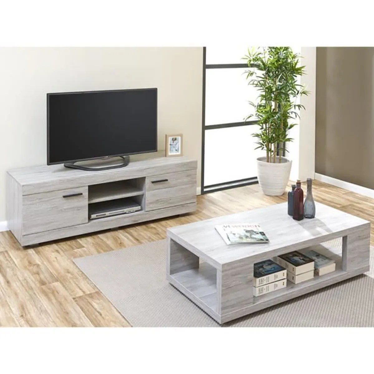 Ensemble Meuble Tv Buffet Tom - Ensemble Table Basse + Meuble Tv Gris - Achat
