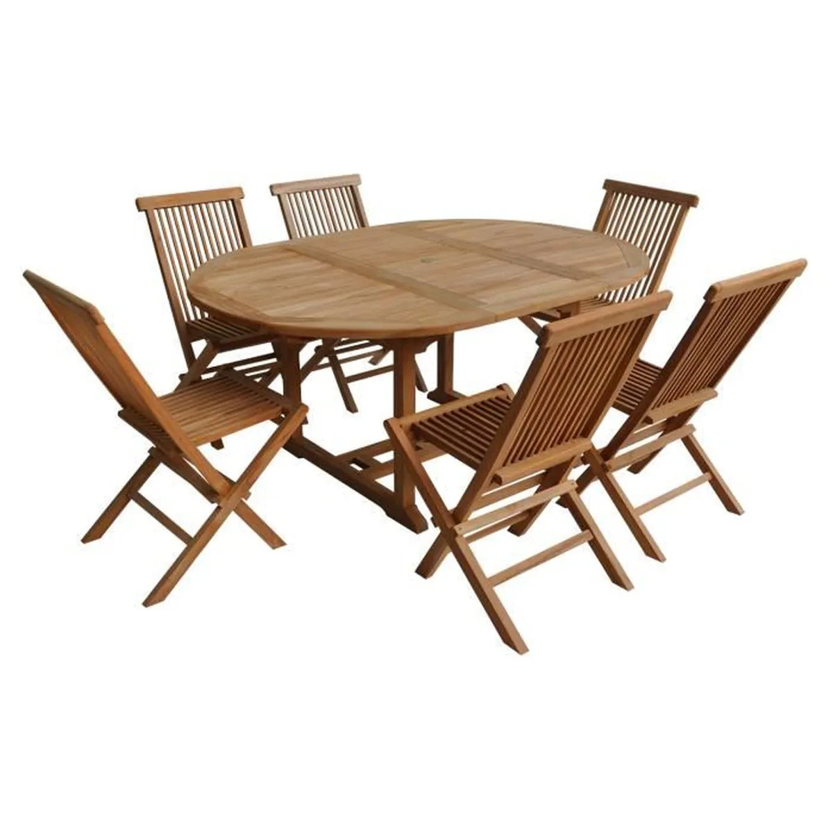 Salon Bas De Jardin En Teck Salon De Jardin Lombok Table Extensible Ronde En Teck 6 Places Marron Marron