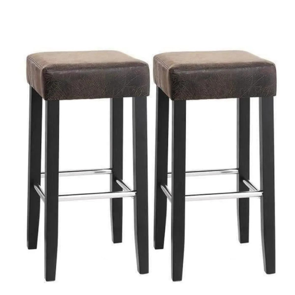 Songmics Lot De 2 Tabourets De Bar Stool Lot De 2 Tabourets De Bar En Pu Avec Repose Pieds Pieds En Bois