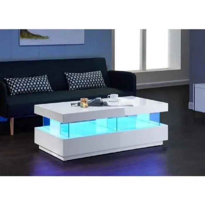 Light Table Basse 120cm Laquée Blanc Brillant Led