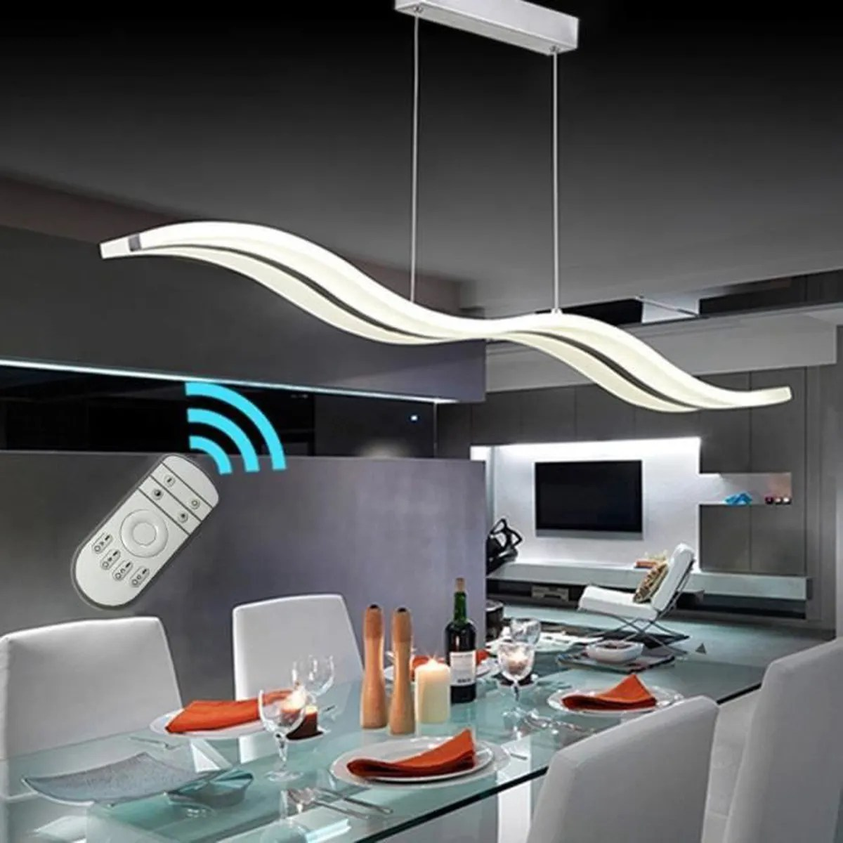 Lustres Modernes But Suspension Led Vagues Lustre Metal Moderne Dimmerable Avec