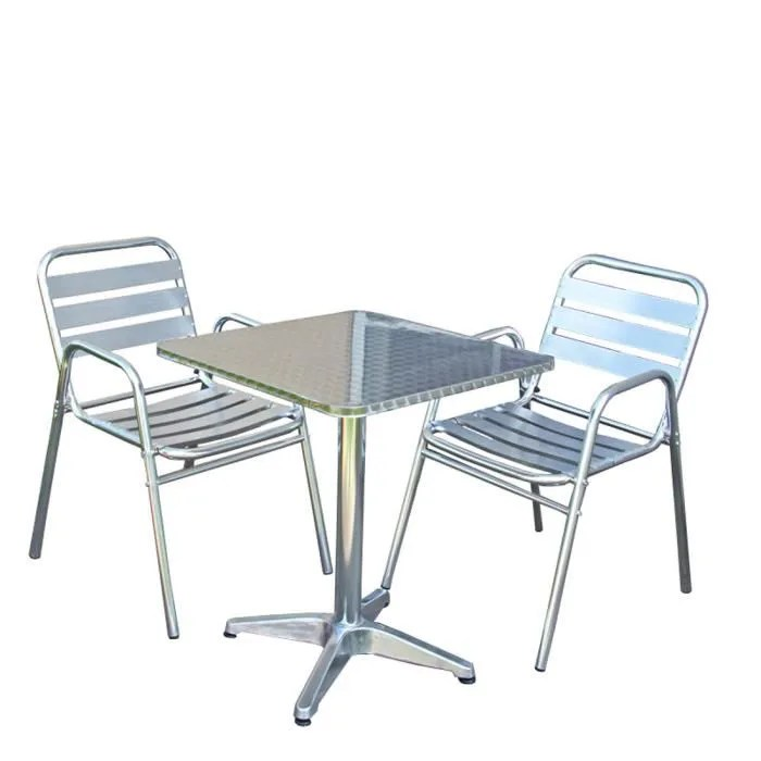 Finlandek Salon De Jardin Ensemble Bistrot M28, Aluminium, Table Carrée + 2 Chaises