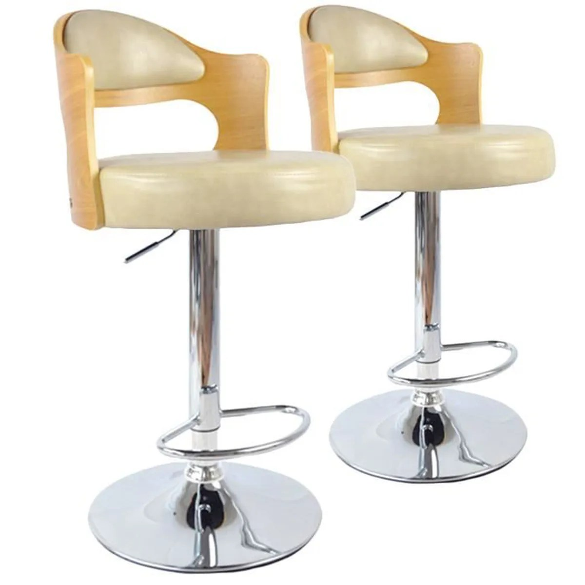 Tabourets De Bar Réglables Rubens Tabouret De Bar Lot De 2 Chaises De Bar Ruben Chene Clair