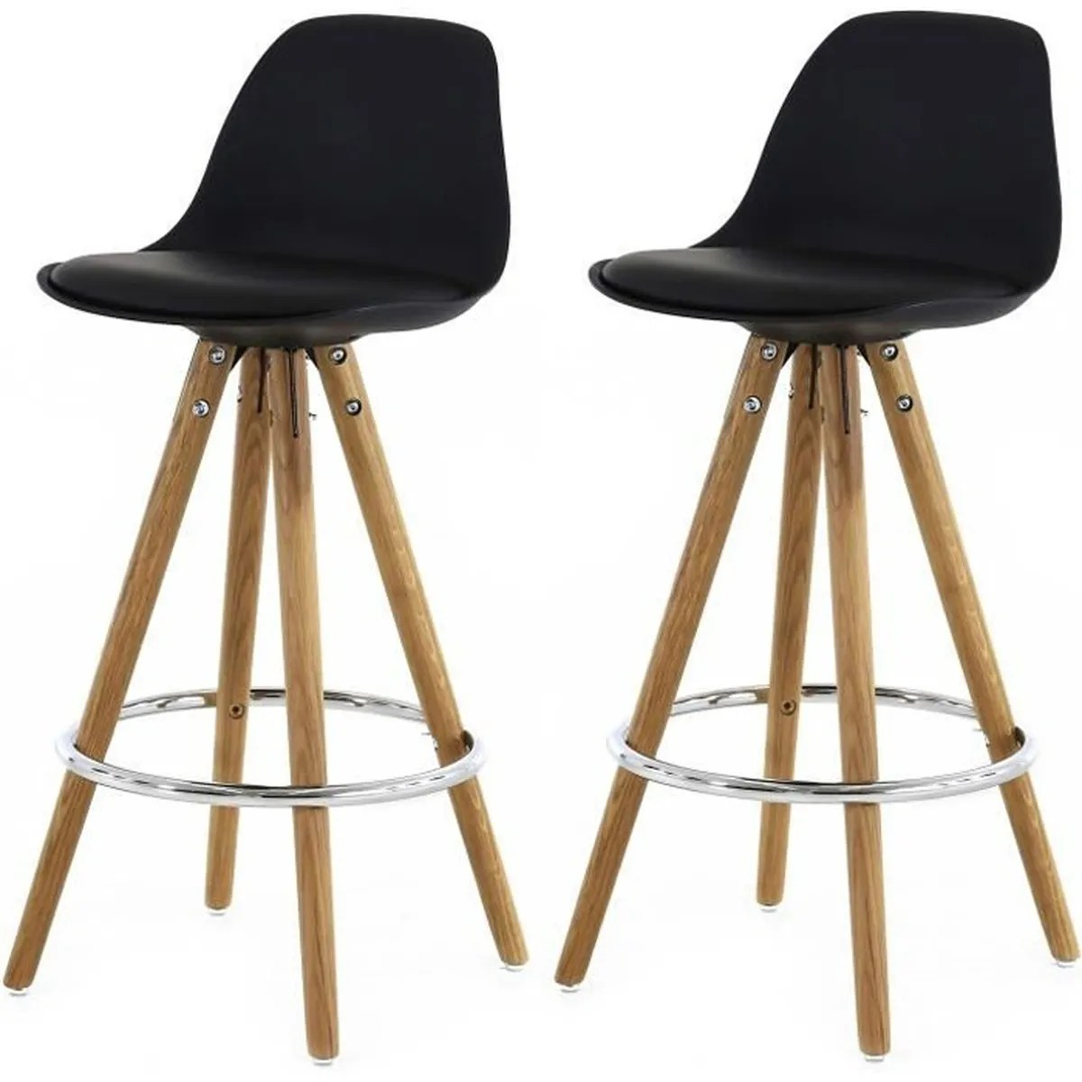 Charly Lot De 2 Tabourets De Bar Blancs Lot De 2 Tabourets De Bar Scandinaves Noir Uma Achat