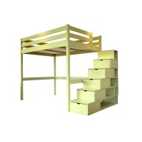 Lit Mezzanine Sylvia avec escalier cube bois - Achat ...