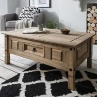Table basse bois en pin massif avec tiroir, table basse de ...