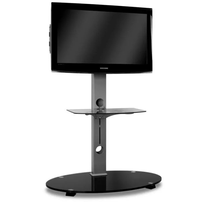 Meuble Tv Mural Design Pas Cher Support Tv Aluminium Verre Noir - Fixation - Support Tv