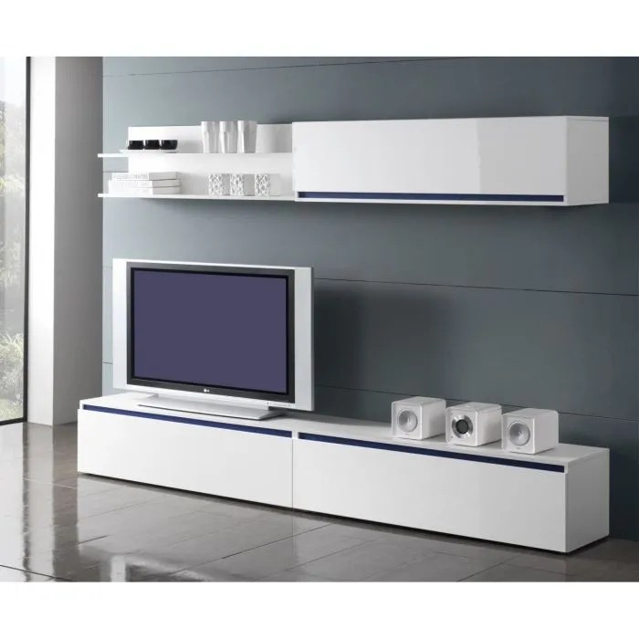 Etagere Blanc Laque Ikea Meuble Tv Bas Long Blanc