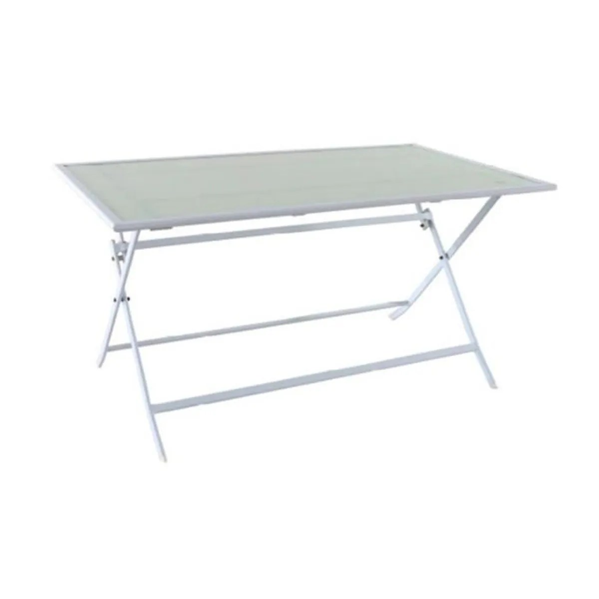 Table Pliante Exterieur Table Pliante En Fer Coloris Blanc 140 X 80 Cm