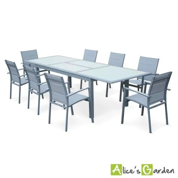 Table De Jardin Extensible 200 260cm En Aluminium Et 8 Fauteuils En  Textilene