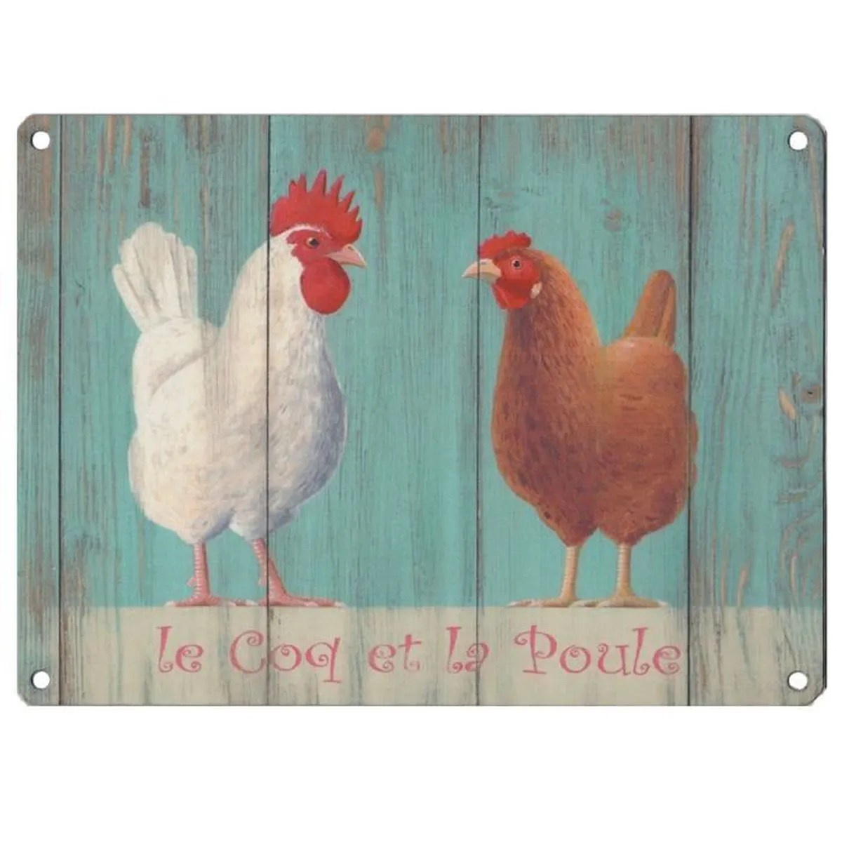 Poules Decoration Grande Plaque Décorative 30x40