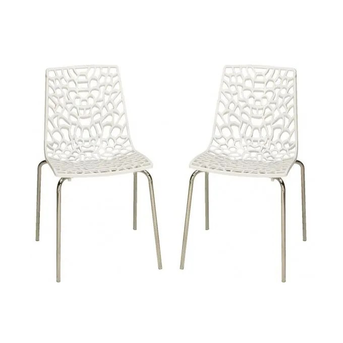 Lot 4 Chaises Blanches Lot De 2 Chaises Blanches Traviata - Achat / Vente Chaise