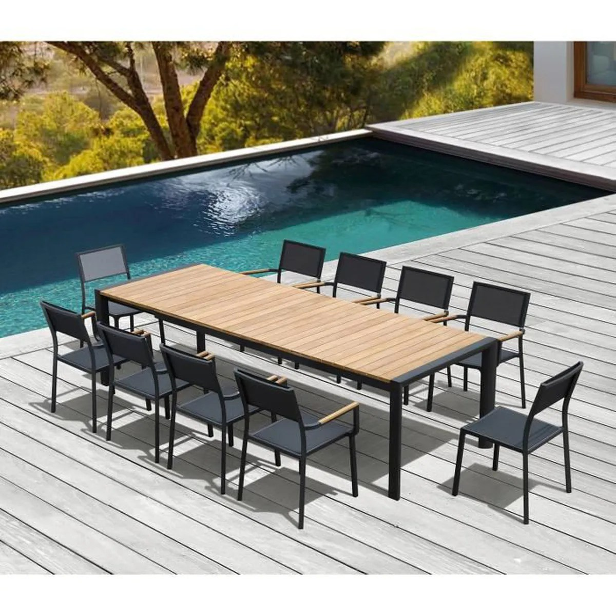 Salon De Jardin Composite Extensible Salon De Jardin Electra En Alu Anthracite Et Teck 10 Places