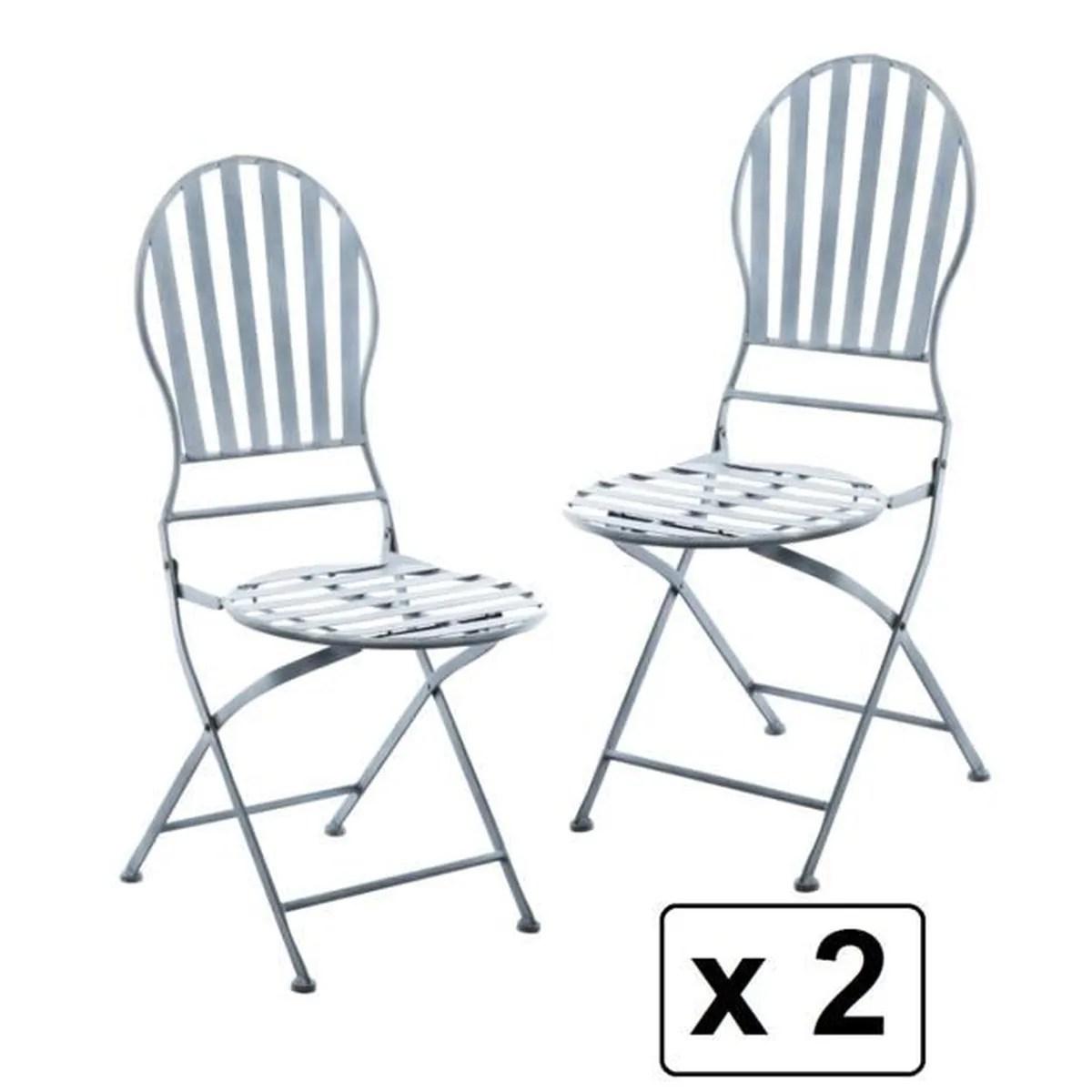 Fauteuils Pliantes | Lot De 2 Chaises Pliantes Style Fer Forgé Gris ...