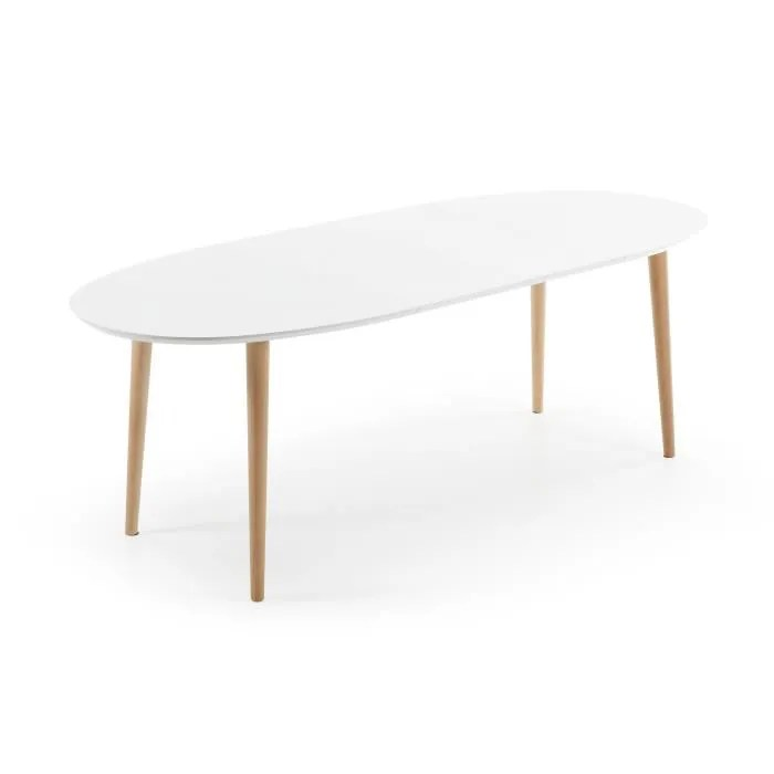 Table 140 Cm Extensible Table Oqui Ovale Extensible 140-220 Cm, Naturel Et Blanc