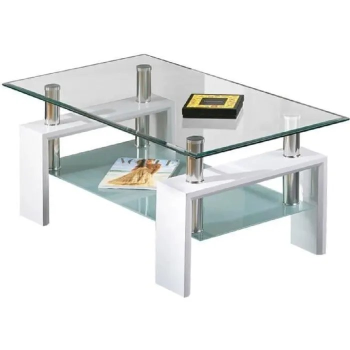 Table Basse Alva Rectangulaire Verre Sécurit Bois Blanc - Glastisch Oval Wohnzimmer